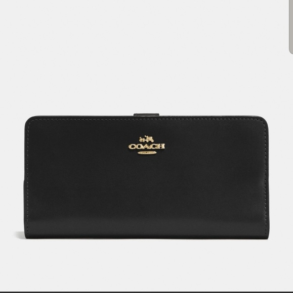 Coach Handbags - Black Leather Coach Skinny Wallet